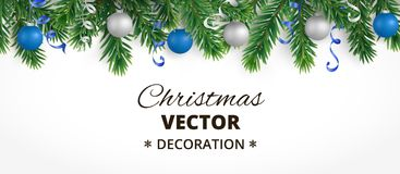 Horizontal christmas banner with fir tree garland, hanging balls and ribbons. Horizontal banner with christmas tree garland and ornaments. Hanging blue and Stock Photos