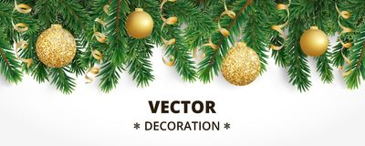 Horizontal christmas banner with fir tree garland, hanging balls and ribbons. Horizontal banner with christmas tree garland and ornaments. Hanging golden Stock Photo