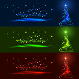 Horizontal christmas banner set, vector template. Horizontal christmas banner set. Blue, green and red xmas tree, stars, ribbons, balls with glow effect. Vector Stock Photo