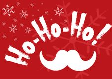 Horizontal Christmas banner with snowflakes, Santa Claus mustache and handwritten text Ho-ho-ho!. Grunge, sketch, watercolor. Vector illustration Stock Images