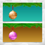 Horizontal Christmas banners. Fir tree branches with bright balls. Set of three horizontal Christmas and New Year banners. Fir tree branches on the background Royalty Free Stock Images