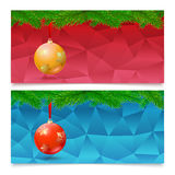 Horizontal Christmas banners. Fir tree branches with bright balls. Set of three horizontal Christmas and New Year banners. Fir tree branches on the background Stock Photo
