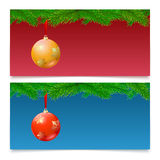 Horizontal Christmas banners. Fir tree branches with bright balls. Set of three horizontal Christmas and New Year banners. Fir tree branches on colored Stock Images