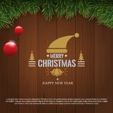 Horizontal Christmas border frame with fir branches, pine cones, berries and lights over wood background. Vector stock illustration