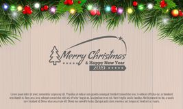 Horizontal Christmas border frame with fir branches, pine cones, berries and lights over wood background. Vector vector illustration