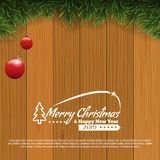 Horizontal Christmas border frame with fir branches over wood background. Vector illustration for social network pages. vector illustration