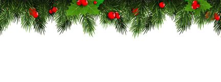 Horizontal Christmas border frame with fir branches, pine cones, berries. Vector illustration. stock illustration