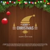 Horizontal Christmas border frame with fir branches, pine cones, berries and lights over wood background. Vector. Horizontal Christmas border frame with fir stock illustration