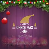 Horizontal Christmas border frame with fir branches, pine cones, berries and lights over wood background. Vector. Horizontal Christmas border frame with fir royalty free illustration