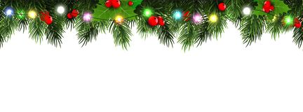 Horizontal Christmas Border Frame With Fir Branches, Pine Cones, Berries And Lights. Vector Illustration. Royalty Free Stock Images