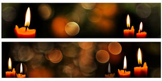 Horizontal christmas candle banners stock photos