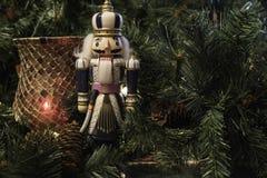 Horizontal Christmas display with nutchracker royalty free stock image