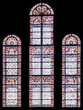 Horizontal church window. Window detail from inside with glass in different colors stock photography