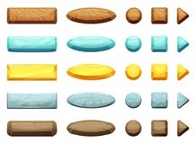 Free Horizontal, Circle, Triangle And Square Shapes Of Cartoon Buttons. Illustration For Game Design Projects Stock Photos - 103011523