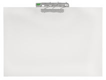Horizontal clipboard, blank empty isolated white paper file copy space sheet texture background, large detailed closeup Stock Photography