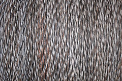 Horizontal Close Up of Coiled Rope. A horizontal closeup from a spool of coiled rope Royalty Free Stock Photography