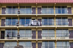 Motel Rooms In A Row royalty free stock image