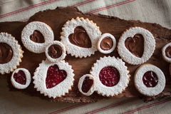 Horizontal Close up Valentine's Day Cookies on piece of wood Stock Image