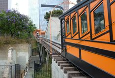 Horizontal closeup of Angels Flight, a landmark narrow gauge funicular railway in the Bunker Hill district of Downtown Los Angeles. LOS ANGELES - CALIFORNIA stock photos