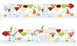 Horizontal-cocktail-borders. Vector illustration of cocktail borders horizontal Royalty Free Stock Photos