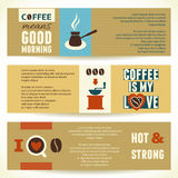 Horizontal Coffee Theme Banners. Vector illustration. Royalty Free Stock Photo