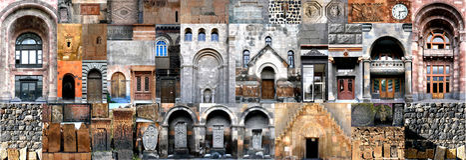Horizontal collage architecture of Armenia. Horizontal collage architecture Armenia. A photocollage Fragments and elements of architecture of the Area of Stock Photos