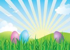 Horizontal coloré d'oeufs de pâques au printemps Photographie stock libre de droits