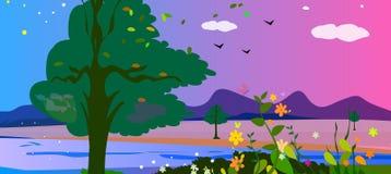 Horizontal coloré de campagne illustration libre de droits