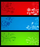 Horizontal color floral banners with copy space. Royalty Free Stock Photo