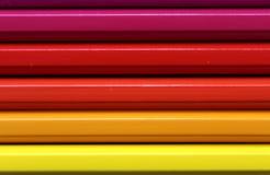 Horizontal color pencils gradient spectrum texture Stock Images