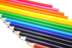 Horizontal Colored Pencil Abstract. Colored pencils in various color shades in a horizontal view Royalty Free Stock Photo