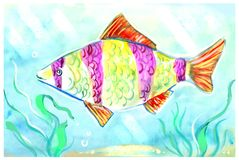 Colorful painting of an exotic fish in the tank. Horizontal colorful artwork with big bright striped fish at the sea bottom Royalty Free Stock Photography
