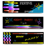 Horizontal colorful banner with wavy stripes and stars. Stock Photo