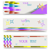 Horizontal colorful banner with wavy stripes and stars. Stock Photos