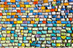 Horizontal colorful mosaic texture on wall Royalty Free Stock Image
