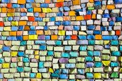 Horizontal colorful mosaic texture on wall. Diagonal colorful mosaic texture on the wall Royalty Free Stock Image