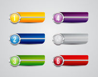 Horizontal colorful options banners buttons Stock Photos