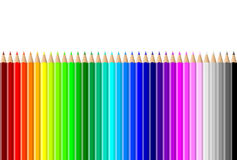 Horizontal colorful pencils wall on white Royalty Free Stock Photos