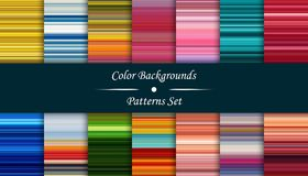 Horizontal colorful stripes abstract background, stretched pixel. S effect, seamless patterns, set Stock Image