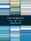 Horizontal colorful stripes abstract background, stretched pixels effect, seamless patterns, set, illustration. Stock Images
