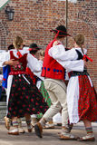 Horizontal colour image of female polish dancers in traditional Stock Images