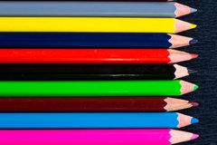 Horizontal colourful stripes of multicoloured wooden pencils bac Royalty Free Stock Photos