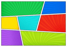 Horizontal comics backdrop. Bright template with cells, halftone effects and rays. Vector colorful background in pop-art stock illustration
