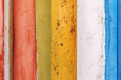 Horizontal composition of colourful stripy wooden background.  stock images