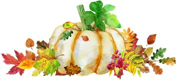 Horizontal composition of pumpkin and autumn leaves