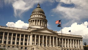 Elevation Facade Utah Capital Building Salt Lake City. A horizontal composition state capital building in Salt Lake City stock footage