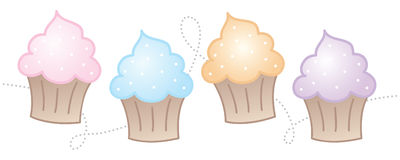 Horizontal Cupcakes. Cute and fun horizontal cupcakes Stock Photography