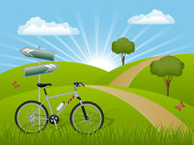 Horizontal d'été avec un vélo Images libres de droits