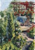 Horizontal d'aquarelle Jardin d'été avec de jeunes arbres, une table de petit déjeuner confortable Fond pour des cartes postales illustration de vecteur