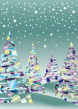 Horizontal d'arbre de neige de Noël Photographie stock